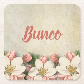 Beautiful Vintage Flowers Bunco Party Square Paper Coaster