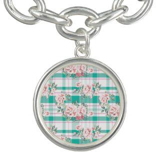 Beautiful Vintage Flowers Rose Pattern Charm Bracelet