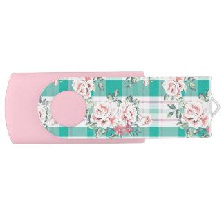 Beautiful Vintage Flowers Rose Pattern Swivel USB 2.0 Flash Drive
