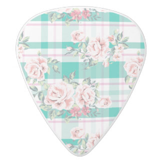 Beautiful Vintage Flowers Rose Pattern White Delrin Guitar Pick