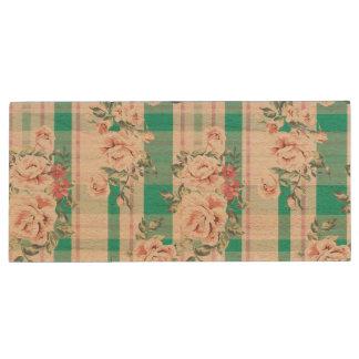 Beautiful Vintage Flowers Rose Pattern Wood USB 2.0 Flash Drive