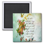 Beautiful vintage flowery tree branch with birds square magnet