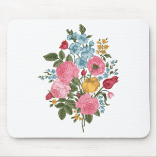 Beautiful Vintage Fresh Flowers Mouse Pads