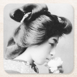 Beautiful Vintage Geisha Smelling a Flower Japan Square Paper Coaster