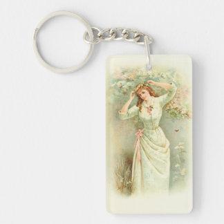 Beautiful Vintage Girl Pastel Flowers & Pink Roses Double-Sided Rectangular Acrylic Keychain