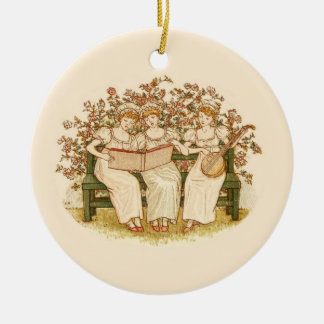 Beautiful Vintage Girls Playing Music- Round Ceramic Ornament