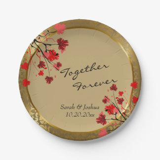 Beautiful Vintage Gold Damask & Art Deco Paper Plate