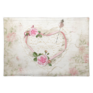 Beautiful Vintage Heart of Lace, Flowers, Placemat