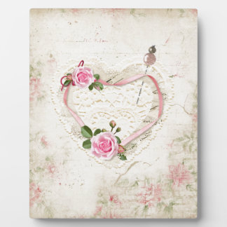 Beautiful Vintage Heart of Lace, Flowers, Plaque