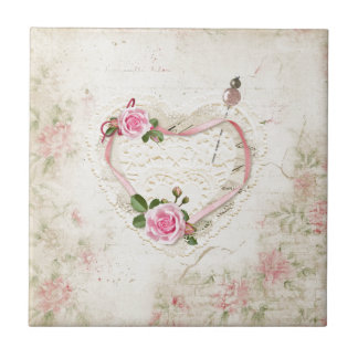 Beautiful Vintage Heart of Lace, Flowers, Tile