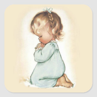 Beautiful Vintage Little Girl Praying Rosary Square Sticker