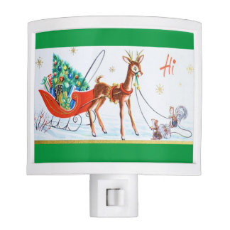 Beautiful Vintage Mid Century Reindeer Night Lite