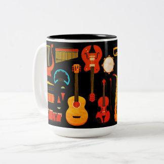 Beautiful vintage musical instruments design Two-Tone coffee mug