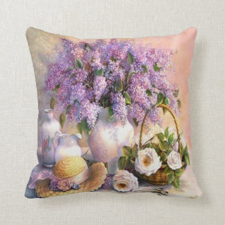 Beautiful Vintage Painting, Lilacs and Roses Throw Pillow