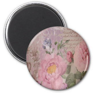 Beautiful vintage pink and blue roses and flowers magnet