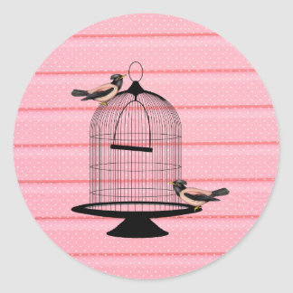 beautiful vintage pink birds cage cute polka dot classic round sticker