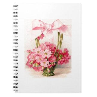 Beautiful Vintage Pink Flowers in Green Basket Spiral Notebook