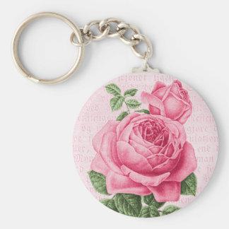 Beautiful vintage pink rose basic round button keychain