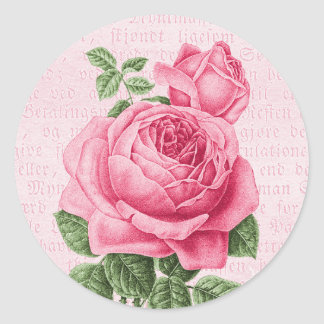Beautiful vintage pink rose classic round sticker