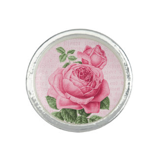 Beautiful vintage pink rose photo ring