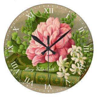 Beautiful Vintage Pink Rose Print Roman Numerals Large Clock