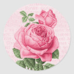 Beautiful vintage pink rose round sticker
