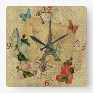 Beautiful vintage post cards collage Eiffel tower Square Wall Clock