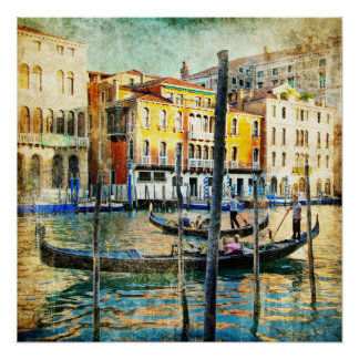 "Beautiful Vintage Poster, 20"" x 20"", Venice motive Poster"