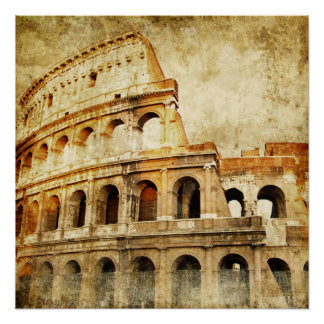 Beautiful Vintage Poster, Ancient Roman Arena Poster