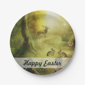 Beautiful Vintage Rabbit Woodland Scene Easter 7 Inch Paper Plate