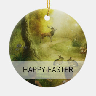 Beautiful Vintage Rabbit Woodland Scene Easter Ceramic Ornament