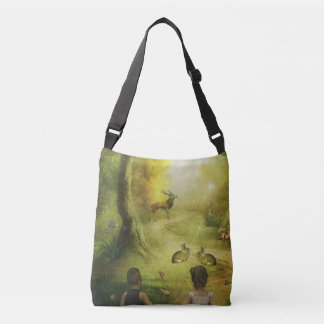 Beautiful Vintage Rabbit Woodland Scene Easter Crossbody Bag