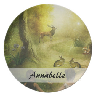 Beautiful Vintage Rabbit Woodland Scene Easter Dinner Plates