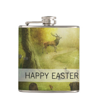 Beautiful Vintage Rabbit Woodland Scene Easter Hip Flask
