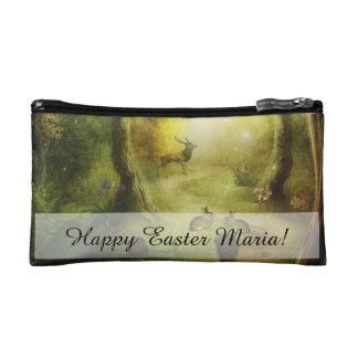 Beautiful Vintage Rabbit Woodland Scene Easter Makeup Bag
