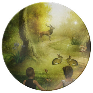 Beautiful Vintage Rabbit Woodland Scene Easter Porcelain Plates