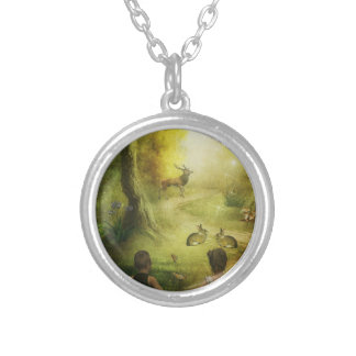 Beautiful Vintage Rabbit Woodland Scene Easter Silver Plated Necklace