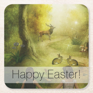 Beautiful Vintage Rabbit Woodland Scene Easter Square Paper Coaster