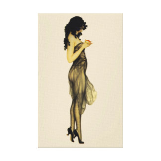 Beautiful Vintage Retro Girl With An Apple Canvas Print