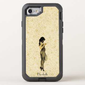 Beautiful Vintage Retro Girl With An Apple Floral OtterBox Defender iPhone 8/7 Case