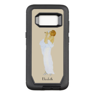 Beautiful Vintage Retro Girl With White Rose OtterBox Defender Samsung Galaxy S8 Case