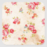 Beautiful vintage roses and other flowers square stickers