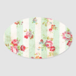 Beautiful vintage roses and other flowers oval sticker