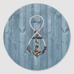 Beautiful vintage roses  floral anchor infinity round sticker