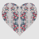 Beautiful vintage roses flowers bouquets pattern heart stickers