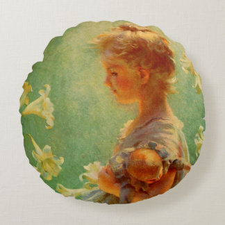 Beautiful Vintage Style Girl With Flowers Pillow