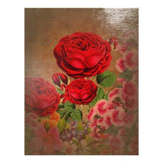 Beautiful Vintage Textured Rose Custom Letterhead