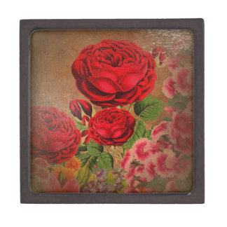 Beautiful Vintage Textured Rose Premium Jewelry Boxes