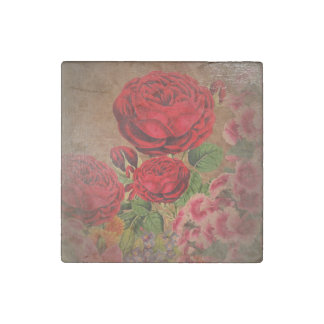 Beautiful Vintage Textured Rose Stone Magnets