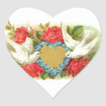Beautiful Vintage Valentine Doves & Roses Heart Sticker